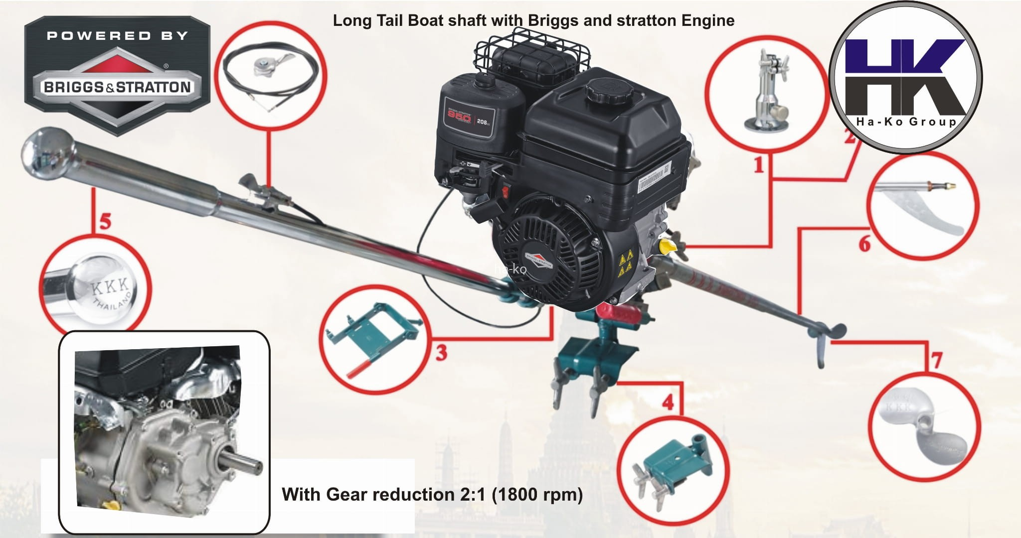 Outboard Boat Motor (OBM) Longtail shaft with 208cc engine